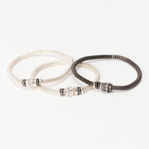 Set de bracelets élastiques argenté City Blue