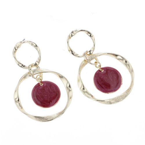 Boucles d'oreilles anneaux torsadés et médaillon bordeaux