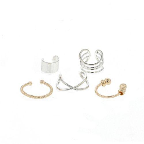 Set de cinq bijoux d'oreille dorés et argentés