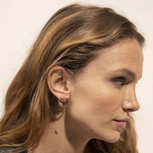 Boucles d'oreilles coeur dorées Bar à chaines : Balaboosté bijoux fantaisie et accessoires tendance.