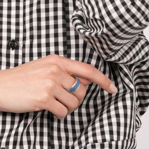 Bague argentée paillettes bleues