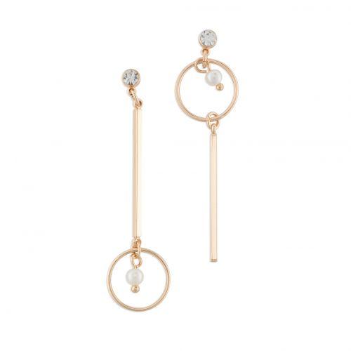 Boucles d'oreilles pendantes dorées Modern Pearl