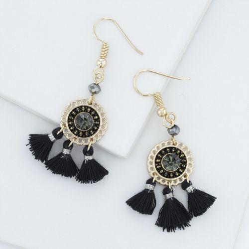 Boucles d'oreilles pendantes noires