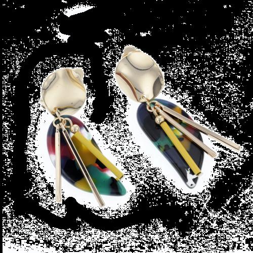 Boucles d'oreilles pendantes dorées Bar à clips
