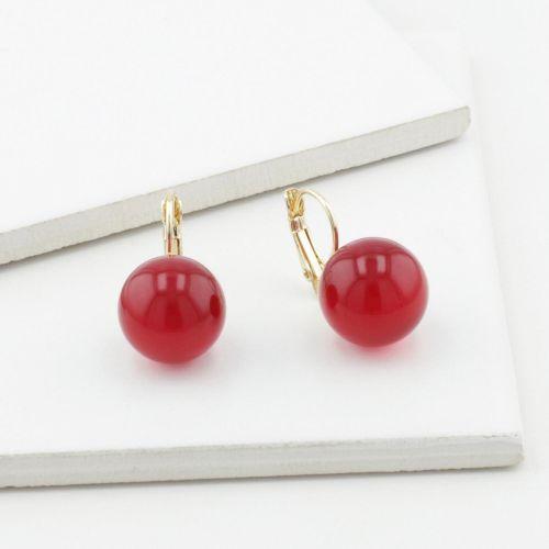 Boucles d'oreilles Cherry Wood perles rouges