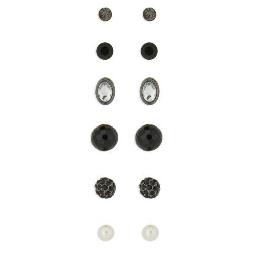 Set de puces rondes, strass, perles et pierres facettées noires