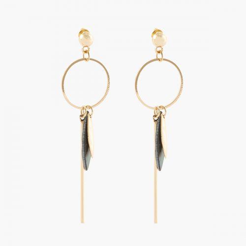 Boucles d'oreilles pendantes dorées Blue mood