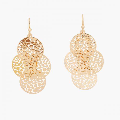Boucles d'oreilles pendantes dorées Basic Nude