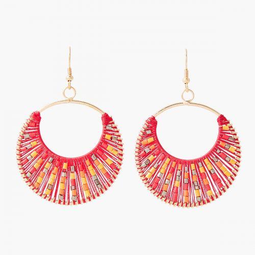 Boucles d'oreilles anneaux tissage rouge et perles de rocaille