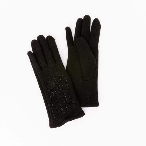 Gants tactiles noirs à strass