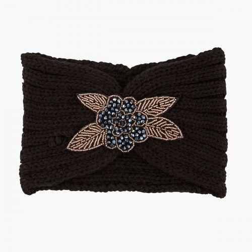 Bandeau noir bijou fleur