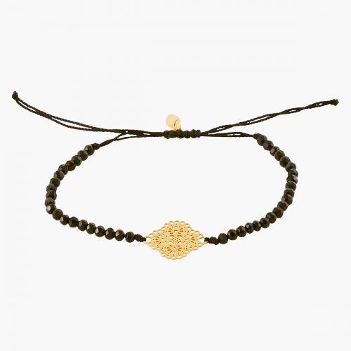 Bracelet perles facettées noires pendentif filigrane argent garanti 925 doré