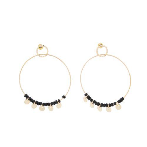 Boucles d'oreilles dorées Manhattan anneaux et pampilles