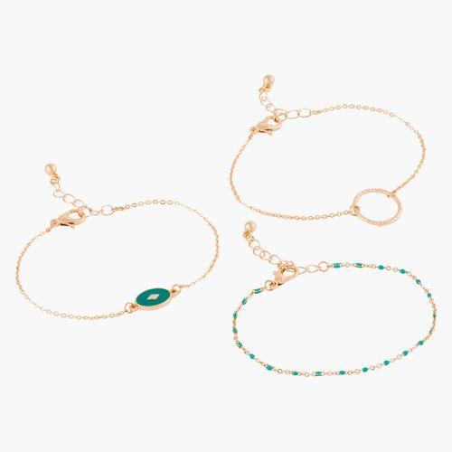 Set de bracelets fins dorés City vert