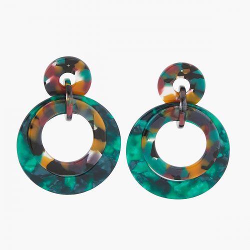 Boucles d'oreilles trois anneaux acryliques Cafe Latte verts