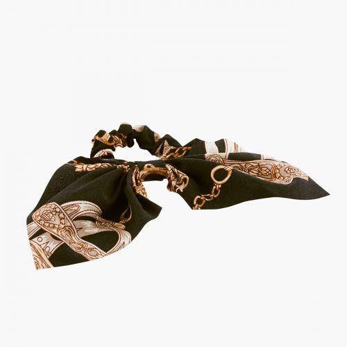 Chouchou foulard Hair Style  noir élastique à motif fantaisies