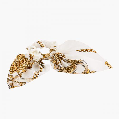 Chouchou foulard Hair Style blanc élastique à motif fantaisie Hair Style