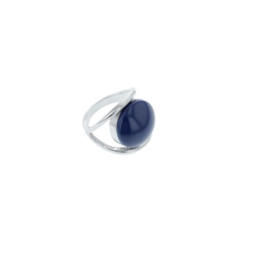 Grosse bague argentée City Blue