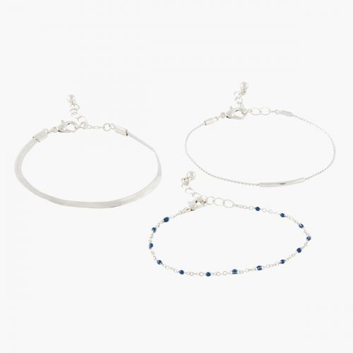 Set de bracelets fins argenté City Blue