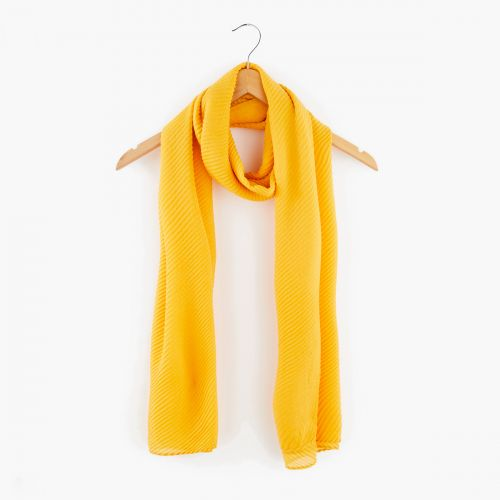 Foulard jaune plissé gauffré