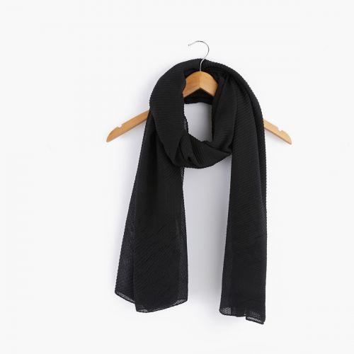 Foulard noir plissé gauffré