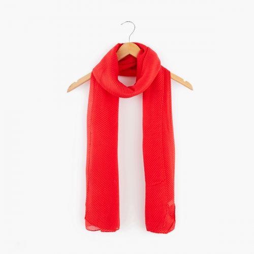 Foulard rouge plissé gauffré