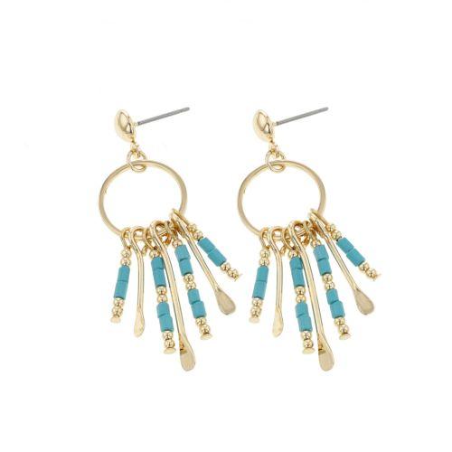 Boucles d'oreilles pendantes dorées Goa