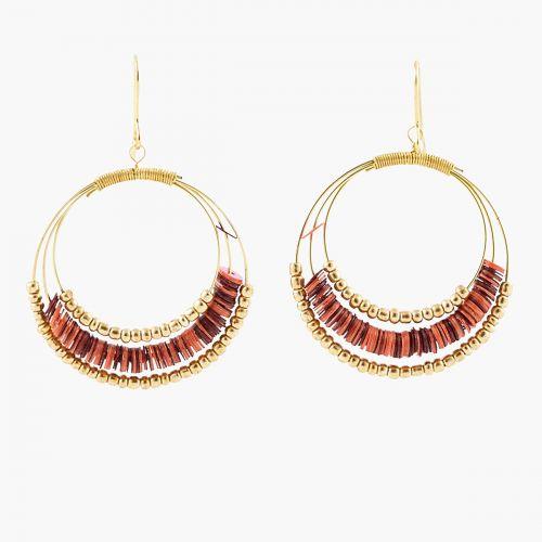 Boucles d'oreilles pendantes dorées Tanzanie