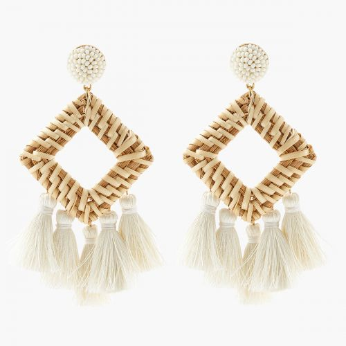 Boucles d'oreilles pendantes blanches White beach