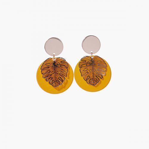 Boucles d'oreilles feuille dorée Colorfull
