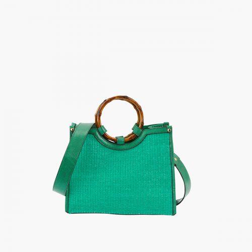 Petit sac cabas paille/bambou vert
