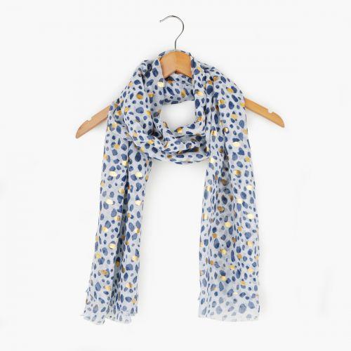 Foulard effet léopard bleu