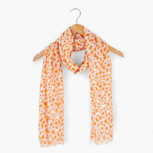 Foulard effet léopard orange