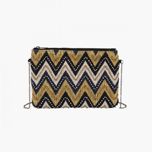 Pochette noire à perles zigzag