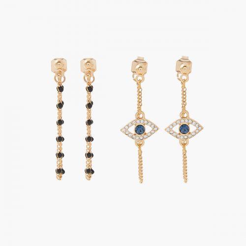 Set de boucles d'oreilles pendantes doré Celestial