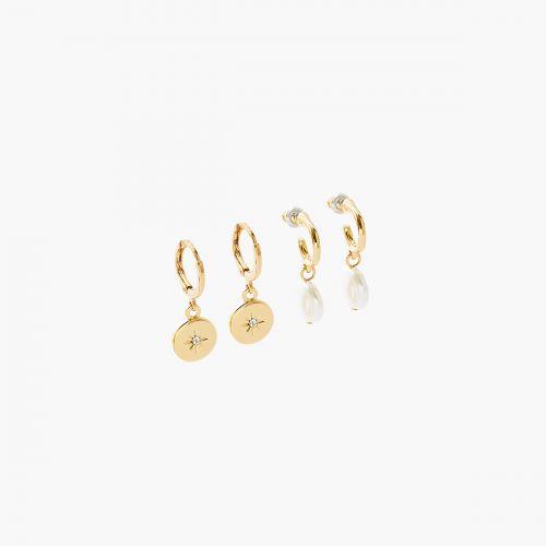 Set de créoles doré New Pearl
