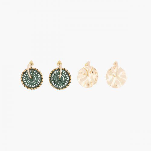 Set de boucles d'oreilles pendantes doré/vert Santiago