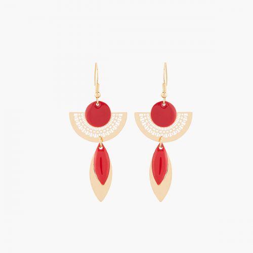 Boucles d'oreilles pendantes dorées Rouge Email