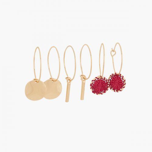 Set de créoles doré/rouge Santiago