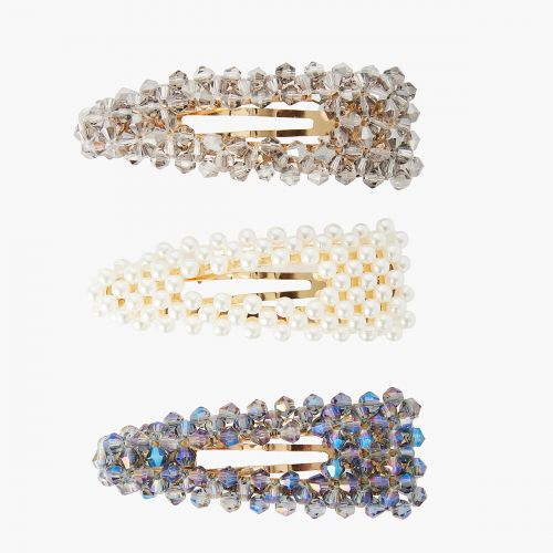 Set de 3 barrettes avec perles et facettes