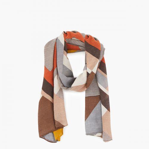 Foulard imprimé géométrique marron