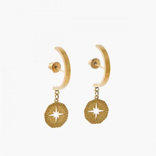 Boucles d'oreilles pendantes dorées steel Power