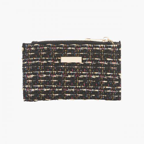 Portefeuille en tweed noir