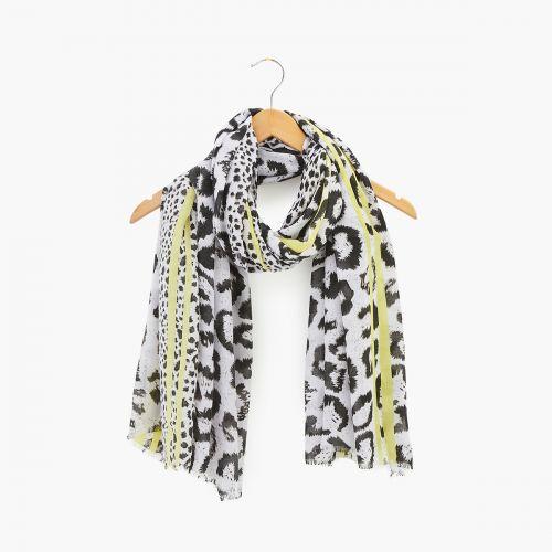 Foulard effet léopard noir/blanc