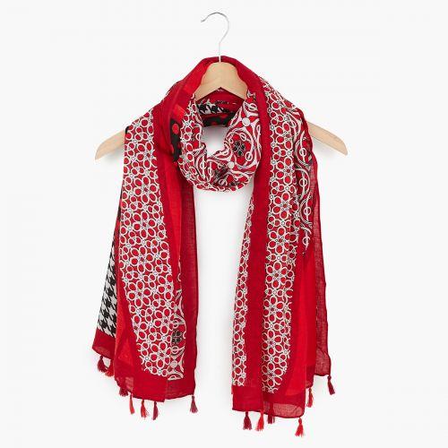 Foulard patchwork vintage rouge