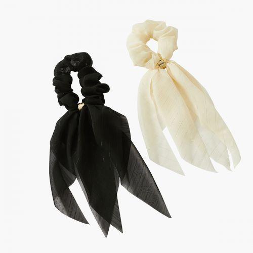 Set d'élastiques cheveux noir