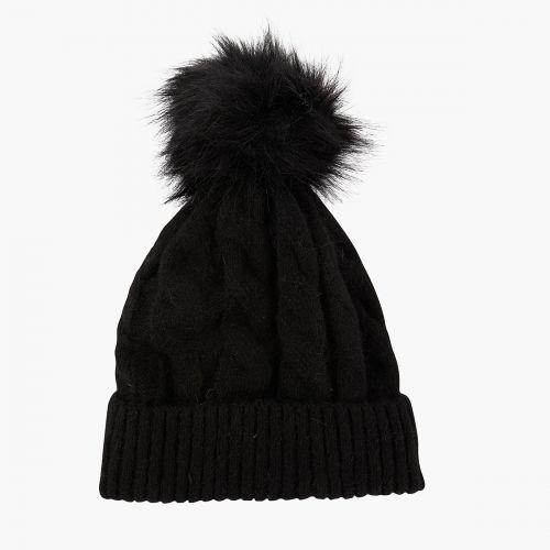Bonnet noir torsadé à pompon