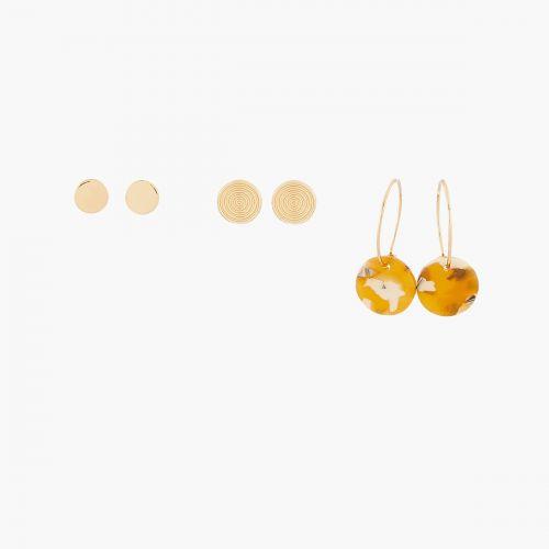 Set de puces d'oreilles doré Porto Vecchio