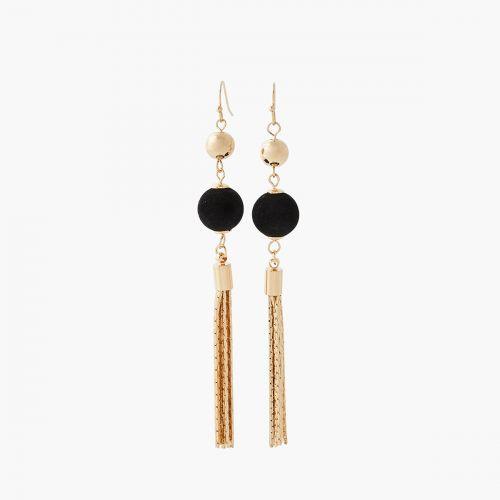 Boucles d'oreilles pendantes dorées Velours glitter