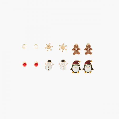 Set de boucles d'oreilles doré Xmas Party